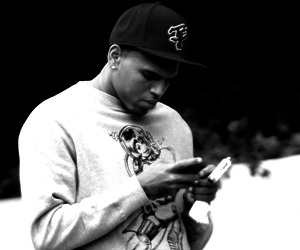 black and white, cap, and chris brown image