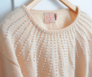 pearls, sweater, and pink image