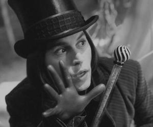johnny depp, Willy Wonka, and black and white image