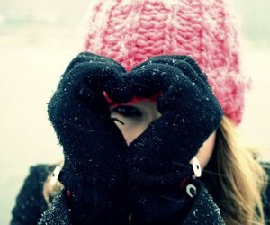 girl, heart, and snow image
