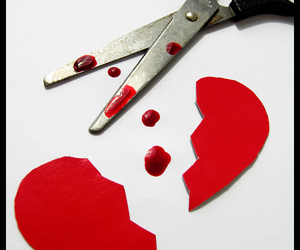 blood, broken heart, and heart image