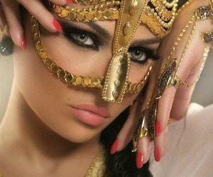 haifa, gold, and makeup image