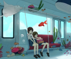anime, fish, and train image