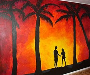 art, beach, and couple image