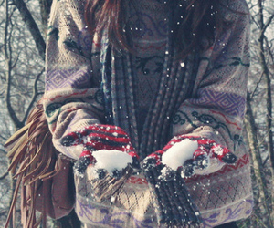 girl, snow, and typography image