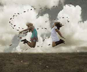clouds, girl, and jump image