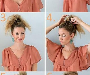 hair, bun, and tutorial image