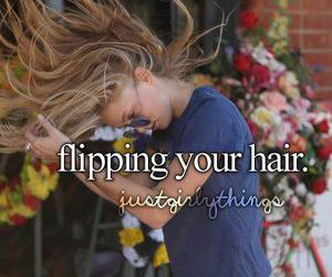hair, flipping, and quote image
