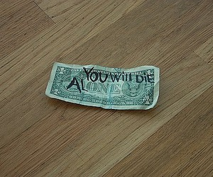 money, alone, and death image