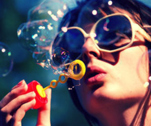 bubbles, girl, and sunglasses image