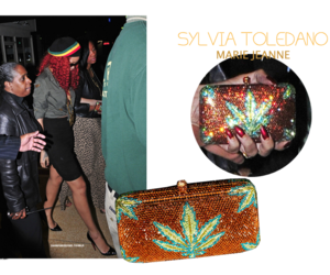 rihanna, gold clutch, and swag girl image