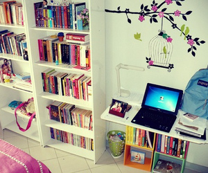 books, wall decal, and cute image