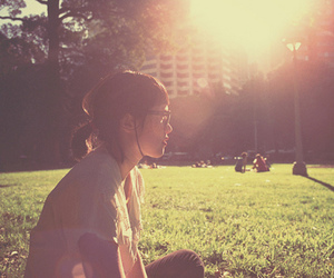 girl, light, and park image