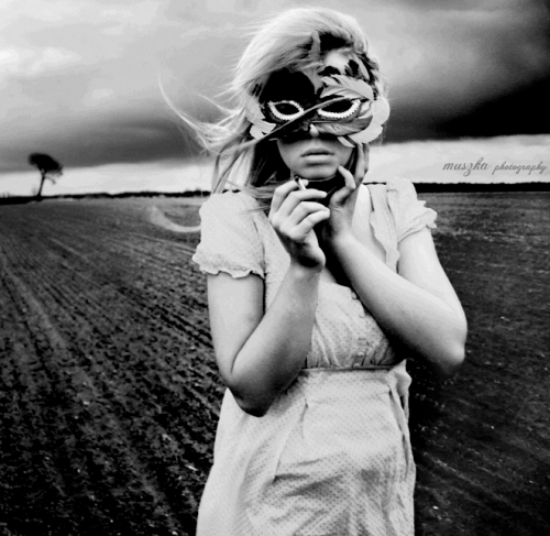 mask, girl, and black and white image