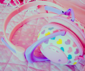 cute, headphones, and pink image