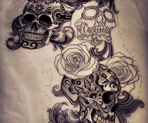 tattoo, roses, and skull image