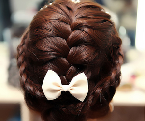 hair, braid, and bow image