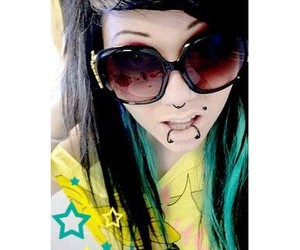 blue hair, scene, and sun glasses image