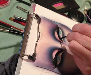 artist, drawing, and makeup image