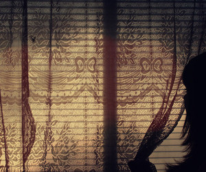curtains, longing, and look image