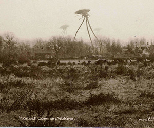 aliens, black and white, and old photo image