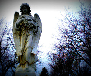 angel, cemetery, and girl image