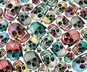 skull, colors, and art image