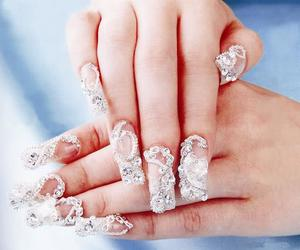 clear, diamonds, and nails image