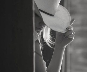 beautiful, black and white, and Cowgirl image