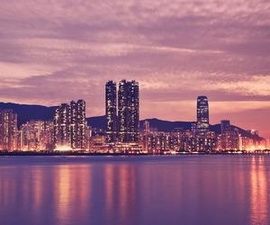 city, lights, and sunset image