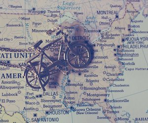 map, bike, and travel image