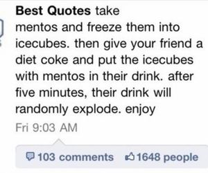 mentos, coke, and joke image