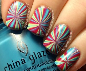 nails, water marble, and cute image