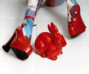 red, bunny, and rabbit image