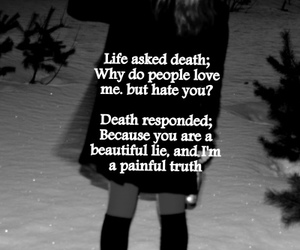beautiful, black and white, and death image