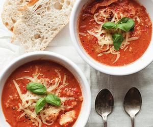 food, soup, and tomato image