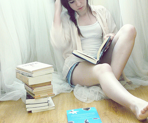 girl, book, and pretty image