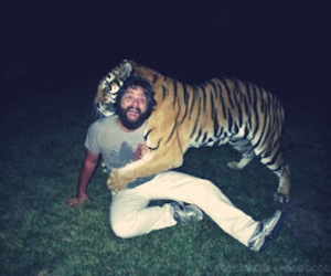 man, friends, and tiger image