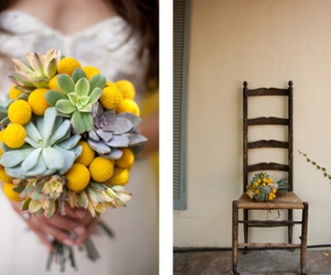 bouquet, succulents, and yellow image