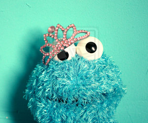 cookie monster, princess, and blue image