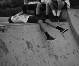 black and white and skater image