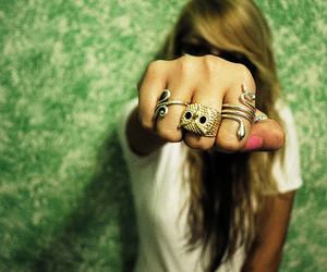 rings, blonde, and owl image