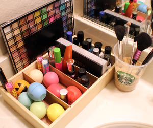 makeup, eos, and starbucks image
