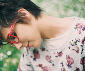 girl, glasses, and floral image