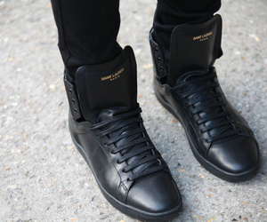 shoes, black, and Yves Saint Laurent image