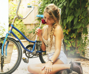 girl, bike, and rose image