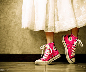 converse, pink, and dress image
