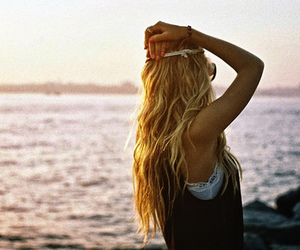 girl, blonde, and beach image