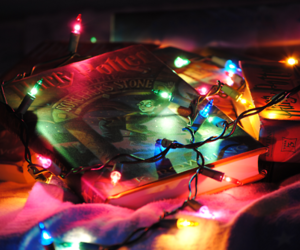 books, light, and harry potter image