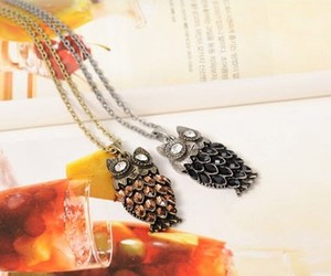 chain necklace, owl necklace, and alloy necklace image
